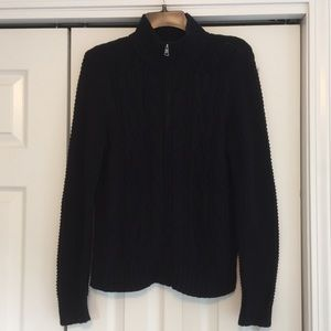 Cable Knit Black Zip-Up Sweater